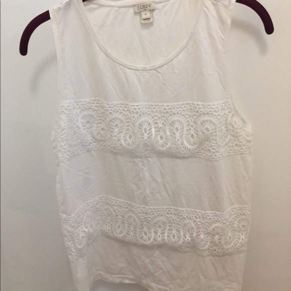 J. Crew Tops - J Crew White Cotton Tank with Lace Detailing